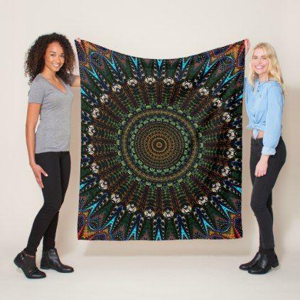Tie-Dye Mandala Fleece Blanket - blue gifts style giftidea diy cyo