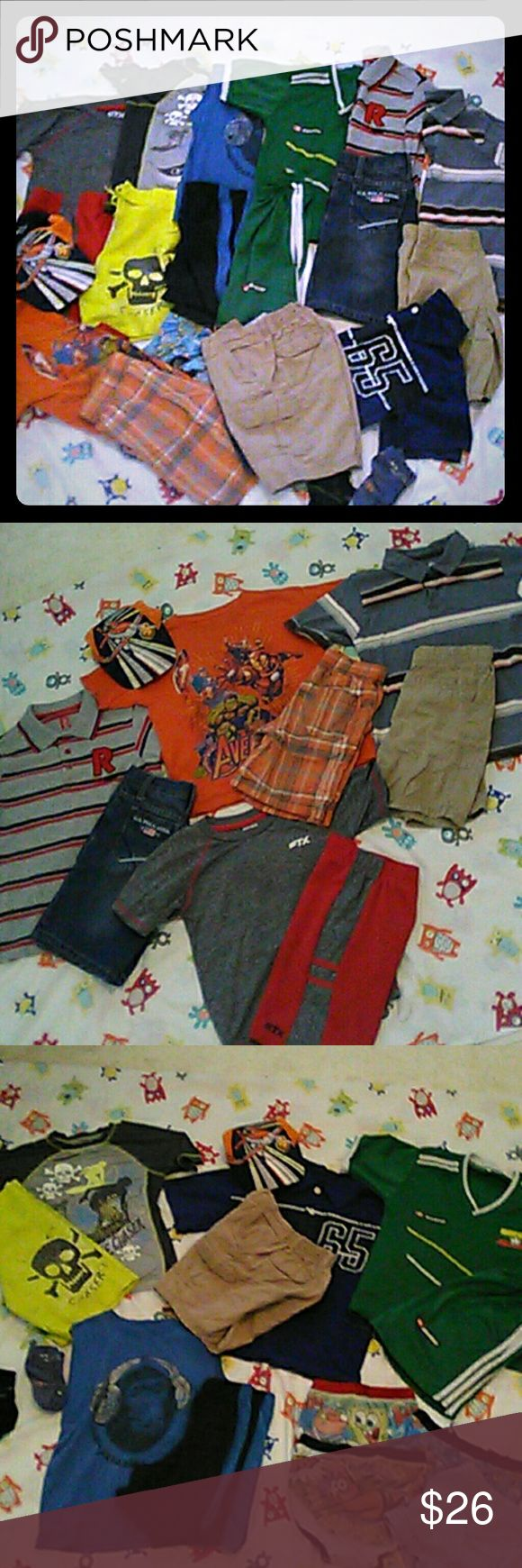 "Boy Summer Clothes Bundle Size 5 Over 20 Pieces!! Boys Summer Clothes Bundle. All size 5 or fit like it.   Name brands include Polo OshKosh First Wave OP Rebellio wear & more 3 Polo Tops 1 Swim Shirt 1 Swim Shorts (set) 1 Soccer set 1 athletic set 8 Shorts (total) 5 Tee Shirts Socks Underwear 1 Hat  Great pre loved condition with normal wash and wear. Some items MAY have a spot here or there but nothing major. Lots of name brands...underwear socks & Planes ""Dusty"" ball cap included. Perfect…"