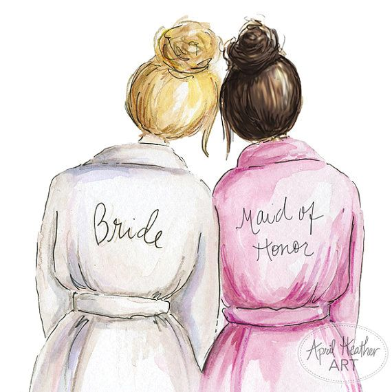 Thank you Maid of Honor PDF Blonde Bun Bride di aprilheatherart