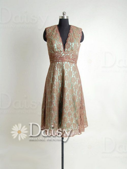Vintage lace bridesmaid dress pale brown lace by for Brown lace wedding dress