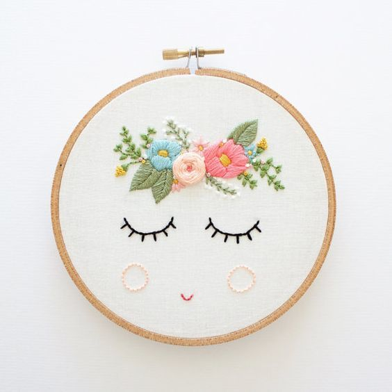 PDF Digital Download, Posy Embroidery Pattern, Floral Embroidery Pattern, Sleepy Face