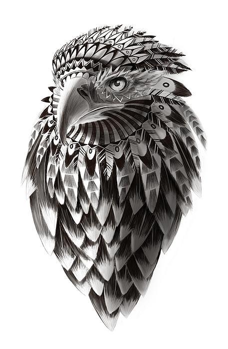Black and white ornate rendered Shaman eagle