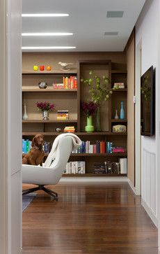 Modern shelving with lots of books and vases MPD Residence - modern - family room - new york - gne architecture