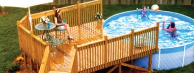 need a deck for your above ground pool?  This site has a tool to estimate the size and cost of your deck as well as allows you to download and print instruction on how to build your deck. The best part is it's all free!!!