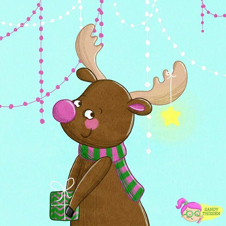 rudolph rentier weihnachtskarte illustration doodle