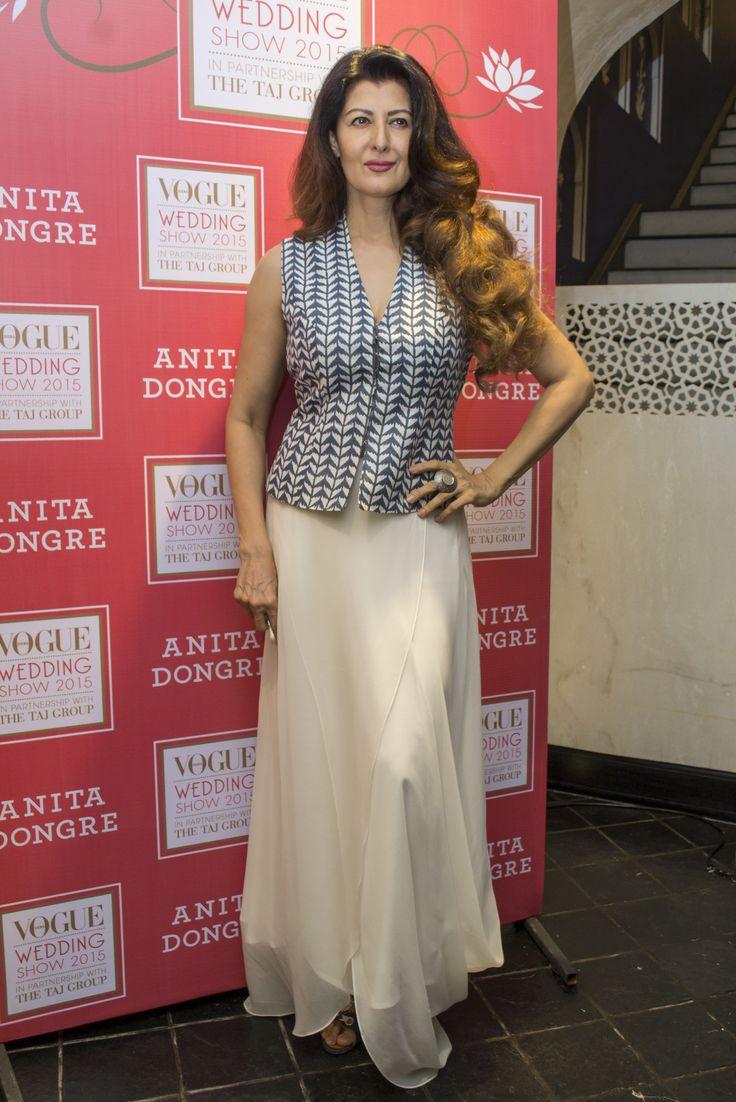Actress, Sangeeta Bijlani in a classic #block #printed #bundi paired with a white #dhoti #skirt by #AnitaDongre.