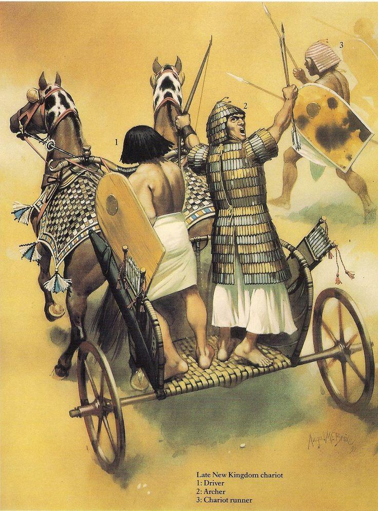 Angus McBride - Carruaje de guerra egipcio de finales del Imperio Nuevo
