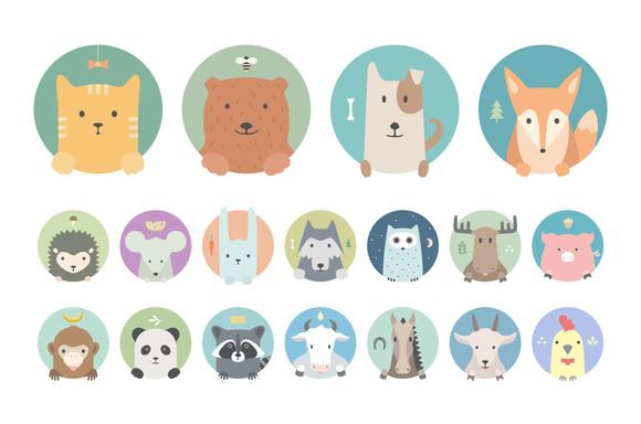 Animal set: 18 colorful portraits of my animal-friends in flat graphics. Red cat, bear, dog, fox, hedgehog, mouse, rabbit, wolf, owl, moose, pig, monkey, panda, raccoon, cow, horse, goat and