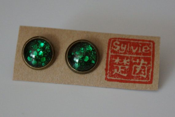 Holographic Earrings  Small Stud Earrings Round by SylvieJewellery, $8.00