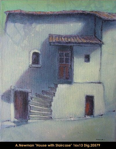 Original acrylic painting on canevas by artist Andy Newman. #newman #art #canadianartist #quebecartist #originalpainting #fineart #acrylicpainting #artist #whitefacade #house #staircaise #multiartltee #balcondart