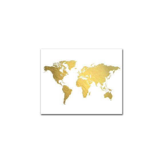 World Map Art Print Real Gold Foil World Map by AdamsAleArtPrints