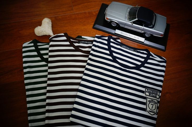 Tailor spirit stripe tees with GREEN, BROWN and BLUE. Sale is on now!!! www.colorato.com.au