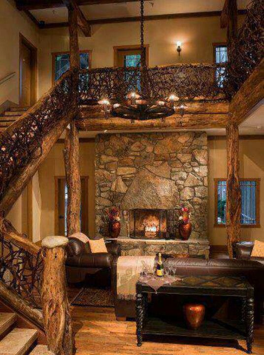 Inside Log Cabin Dream Home Pinterest Stove In Love