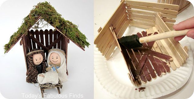 DIY children's nativity/ stable from popsicle sticks