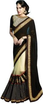 Resham Fabrics Solid, Polka Print Bollywood Handloom Georgette, Net Sari