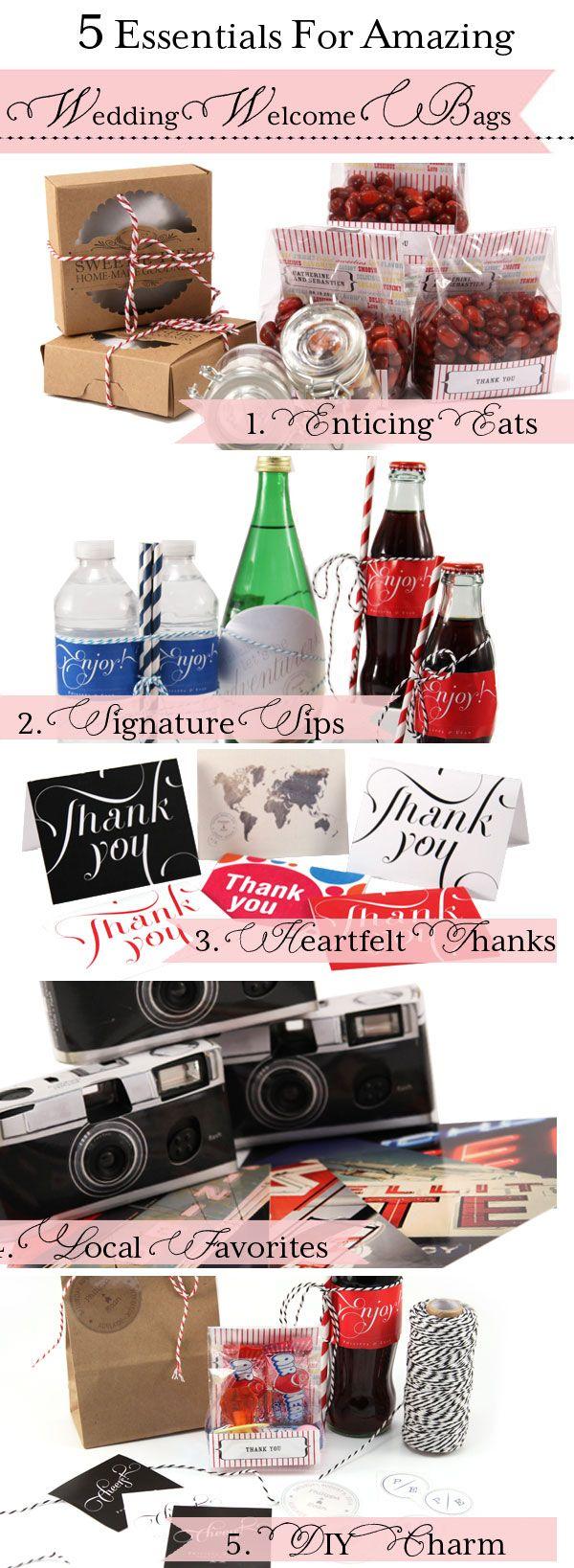 5 Essentials to Create the Perfect Wedding Welcome Bag! {signature sips, camera, postcards, destination wedding, local wedding, wedding favor, DIY, edible}