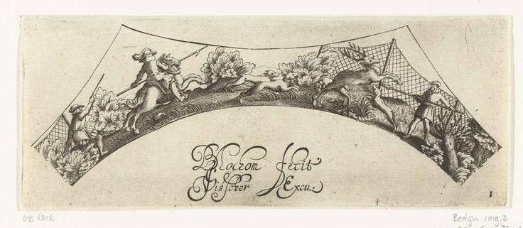 Bartholomeus van Lochom | Hertenjacht, Bartholomeus van Lochom, Claes Jansz. Visscher (II), c. 1630 | Drie jagers en drie honden jagen op een hert.