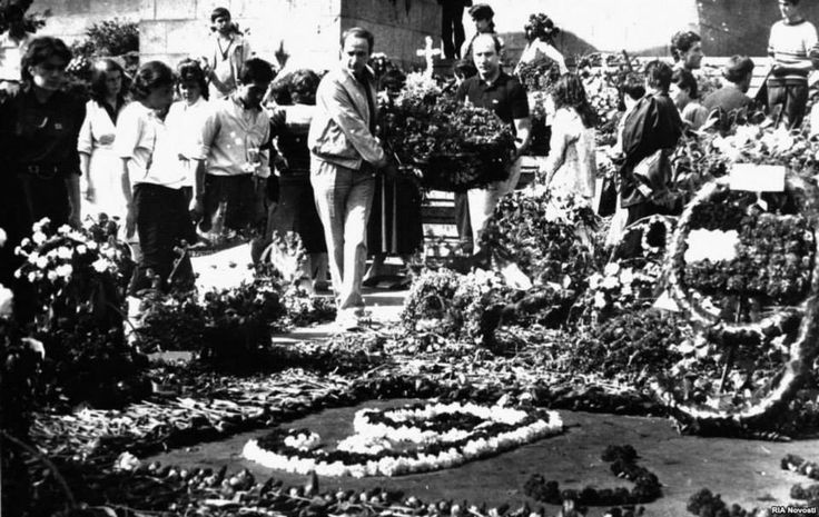 Mourners lay flowers in honor of the victims of the violence. The events of April 9 helped accelerate Georgia's opposition to Soviet rule; two years later, on April 9, 1991, Georgia adopted its Declaration of Independence.