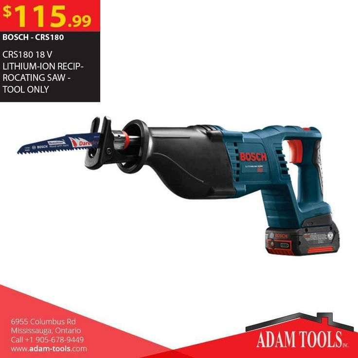 Buy BOSCH - CRS180 18 V LITHIUM-ION RECIPROCATING SAW - TOOL ONLY  Visit our website - http://www.adam-tools.com/crs180-18-v-lithium-ion-reciprocating-saw-tool-only.html #canada #mississuaga #power_tools #building_supplies #adamtools #shop_online #buy_online #BoschTool #Powertools #tools #Boschtools