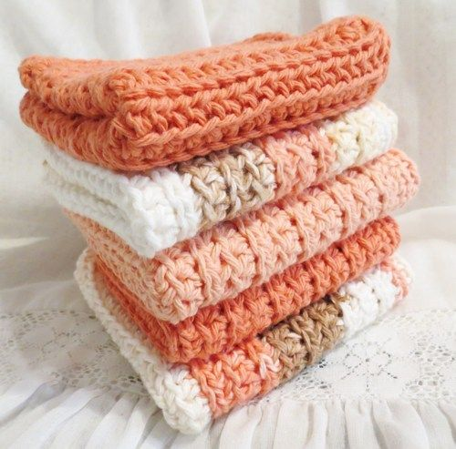 Peaches and Cream Crocheted Cotton Wash Cloth Set of Five  | luvncrafts - Crochet on ArtFire