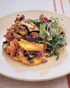 Layered polenta & eggplant casserole