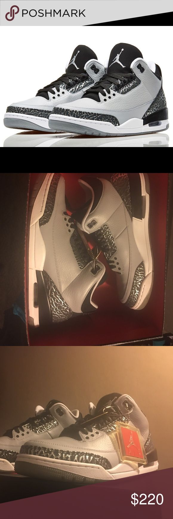 """AIR JORDAN 3 RETRO """"WOLF GREY"""" 136064 004    wolf grey, metallic silver, White. New with box. W/ Retro jump man tag, and SneakerCon Tag of Authenticity. From 2014 Jordan Shoes Athletic Shoes"""