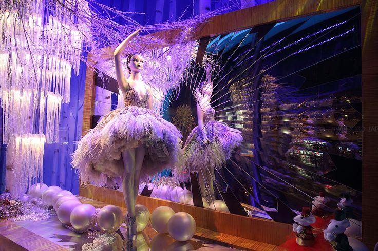 Harrods London 2014 Christmas window-- The ballerina's dress is designed by Zuhair Murad.