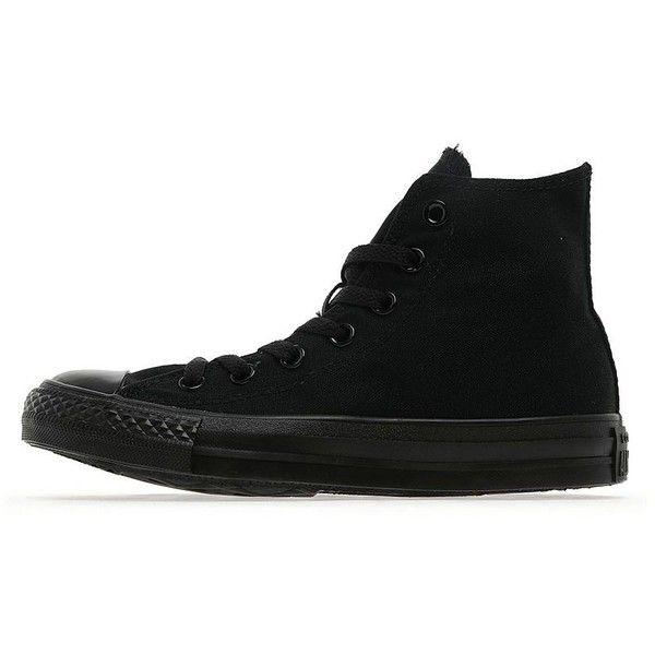 Converse All Star Hi Mono Women's ($76) ❤ liked on Polyvore featuring shoes, sneakers, black, converse sneakers, converse shoes, kohl shoes, flat sneakers and black sneakers