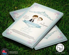 Convite Digital Casamento Floral Blue