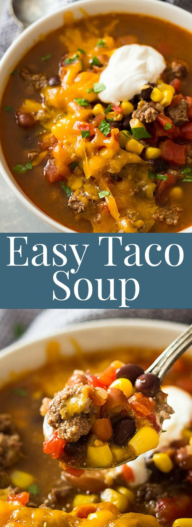 This Easy Taco Soup is packed with flavor, takes less than 30 minutes to make and there is a slow cooker version! |