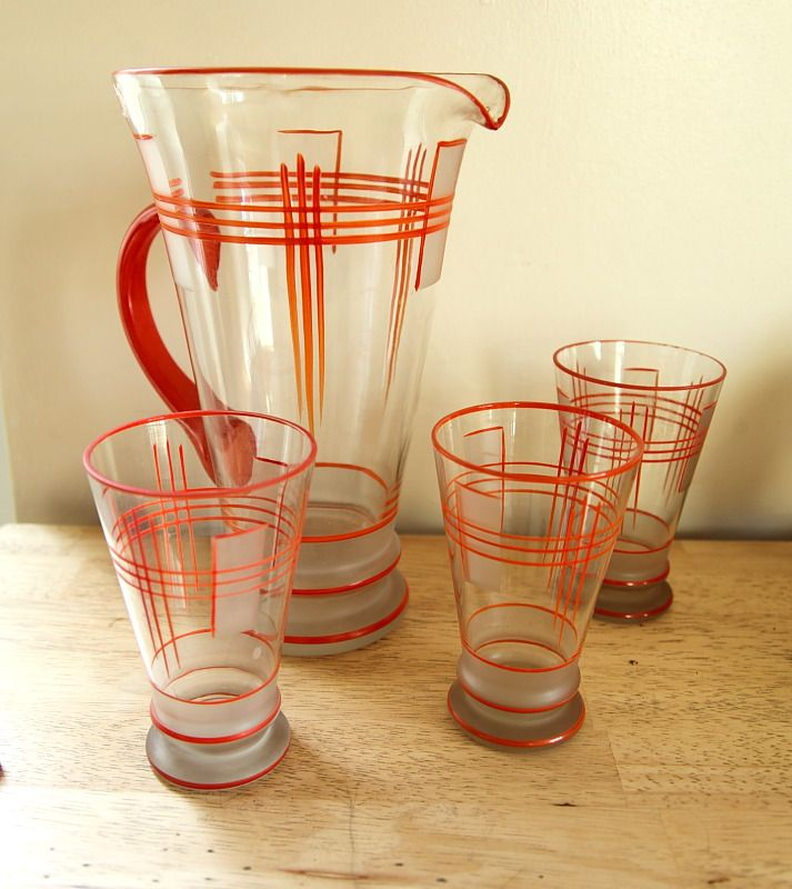 1930s art deco pitcher and 3 glasses