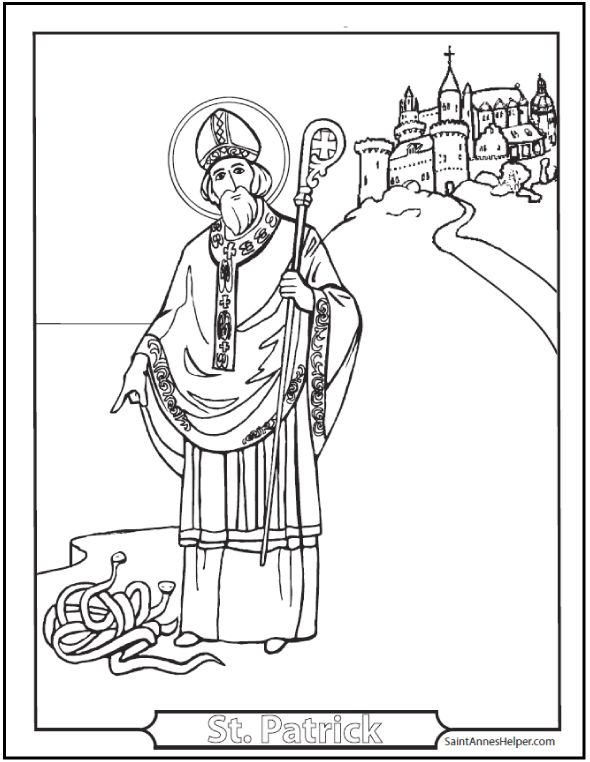 Saint Patrick's Day Coloring Pages: Glorious St. Patrick Coloring Page! St. Patrick, pray for us!
