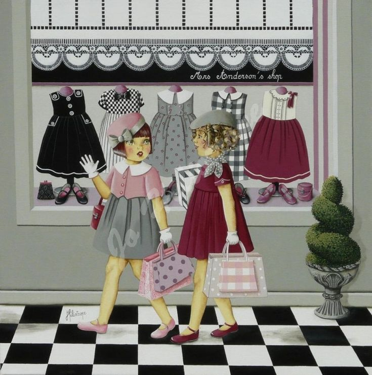 """Jo Héliotrope artiste peintre français huile sur toile 2012 """"Mrs Anderson 's shop"""""""