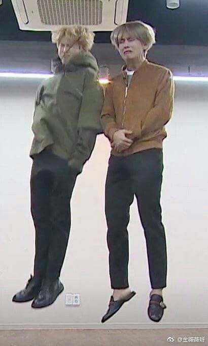Jimin is finally the same height as Taehyung
