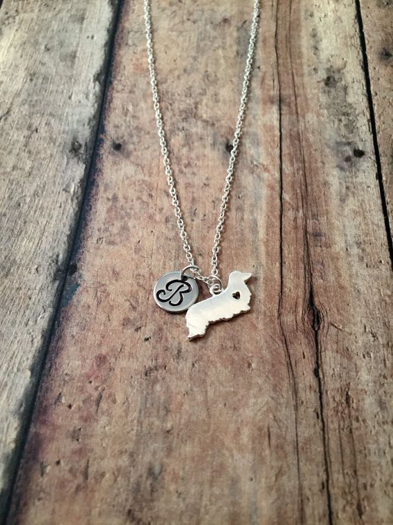 Long haired dachshund initial necklace dachshund by kimsjewelry