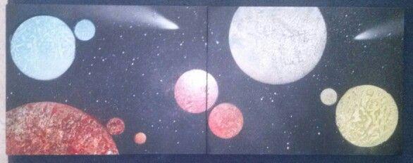 Paisaje estelar,conjunto dos tableros pintados a spray