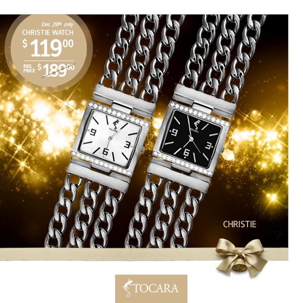 "On the Ninth Day of Christmas, Tocara gave to me...  December 29th - Christie watch for only $119 (reg. price $189) | DiAmi - Stainless Steel - Removable link (0.75"") - Watch: 7""-7.75"".  To purchase ask your consultant or click the image."