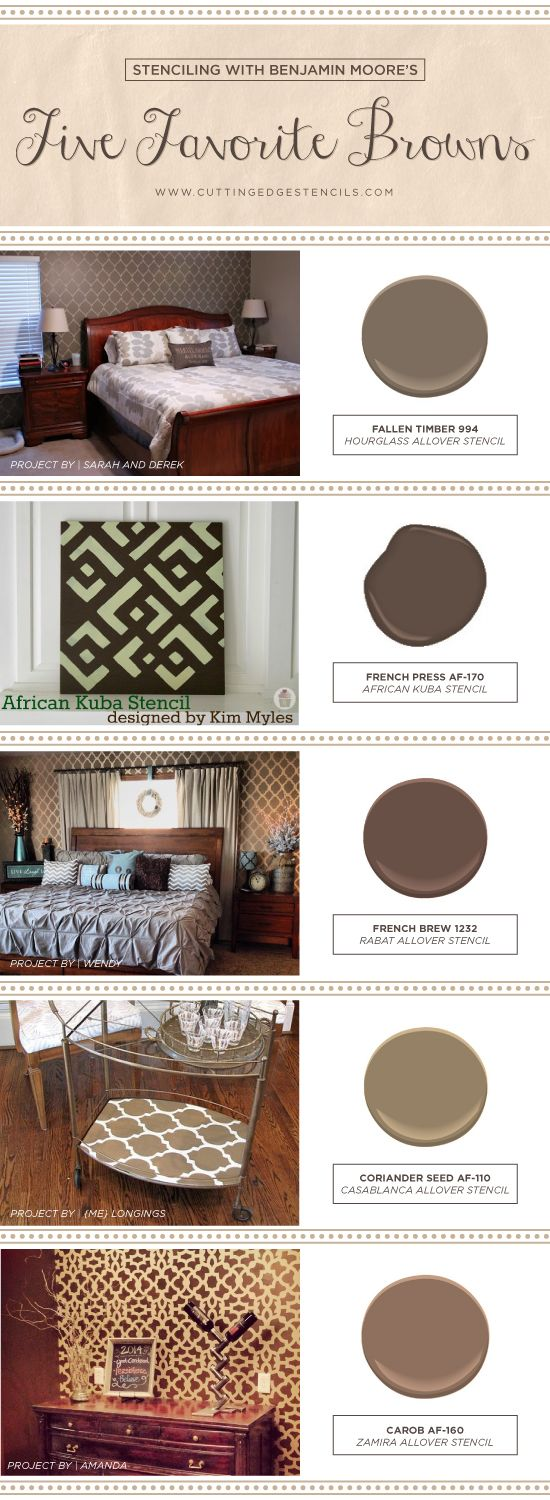133 best color me earth tones images on pinterest cutting edge cutting edge stencils shares stenciled room ideas using benjamin moores five favorite brown paint colors amipublicfo Image collections