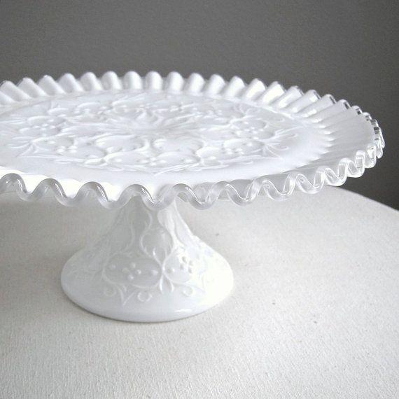 Milk Glass Cake Plate by Fenton  Silver by BarkingSandsVintage, $98.00