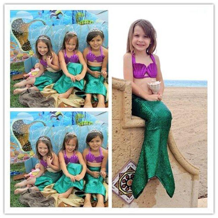 Kids Girl Halloween Mermaid Tail Costume Child Princess Ariel Swimming Swimwear Bikini Soft Children Kid Girl Beach Dress #Affiliate
