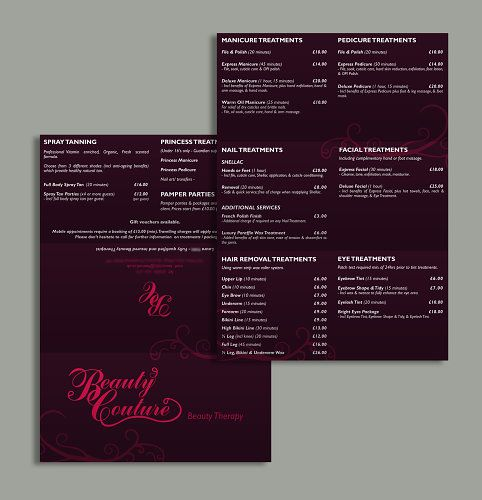 Tri-Fold Treatment/ Pricing Leaflet - Newly qualified beautician, Laura started her beauty therapist business in 2012. She wanted a logo designed and a treatment/ pricing leaflet for promotional aids; it had to be: professional, classy and chic. The client provided some samples of her competitors printed documents for style and pattern references. *CLICK IMAGE TO SEE MORE*