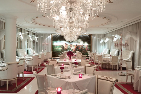 Faena Hotel Bistro in Buenos Aires. Mounted unicorn heads. Rad!
