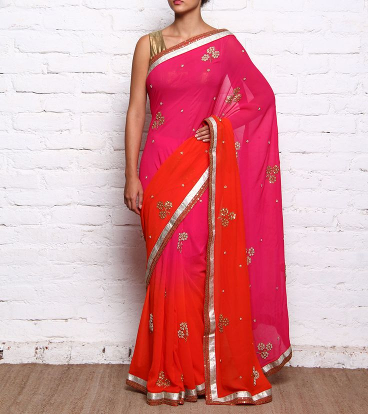 Red & Pink Tree Sequined & Bead Embellished Boota Hand Worked Georgette Saree #indianroots #ethnicwear #saree #georgette #beadembellished #bootahandwork