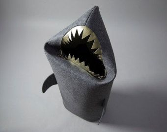 SHARK anthracite. Christmas gift, Felt laundry basket for bathroom or children's room as a basket for toys, shark with gold teeth