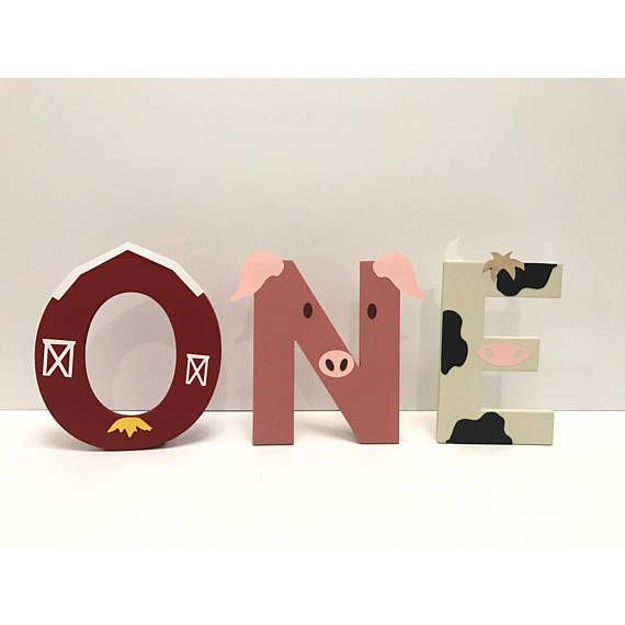 These handmade Farm Animal / Barnyard Themed Letters are great for birthday parties or for bedroom decor. The price listed is per letter in case you want to spell something else. If you want it to spell ONE as pictured you will need to purchase 3 letters. At check out please adjust