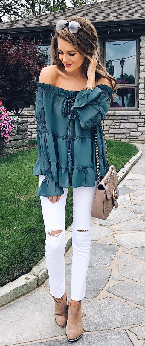 #summer #outfits  Green Off The Shoulder Top + Ripped Skinny Jeans