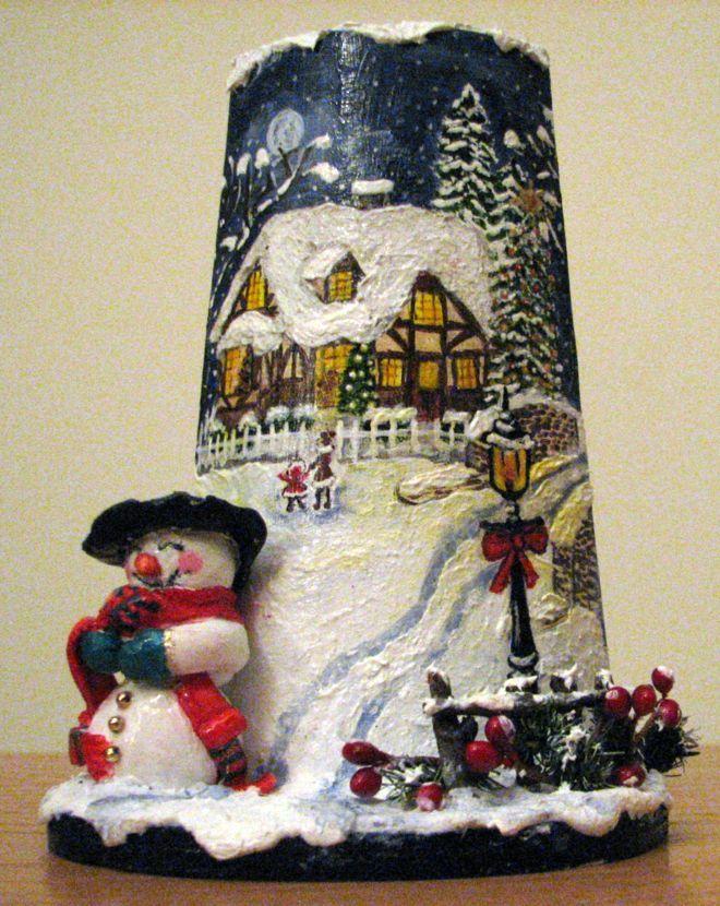 Tegolina natalizia dipinta a mano