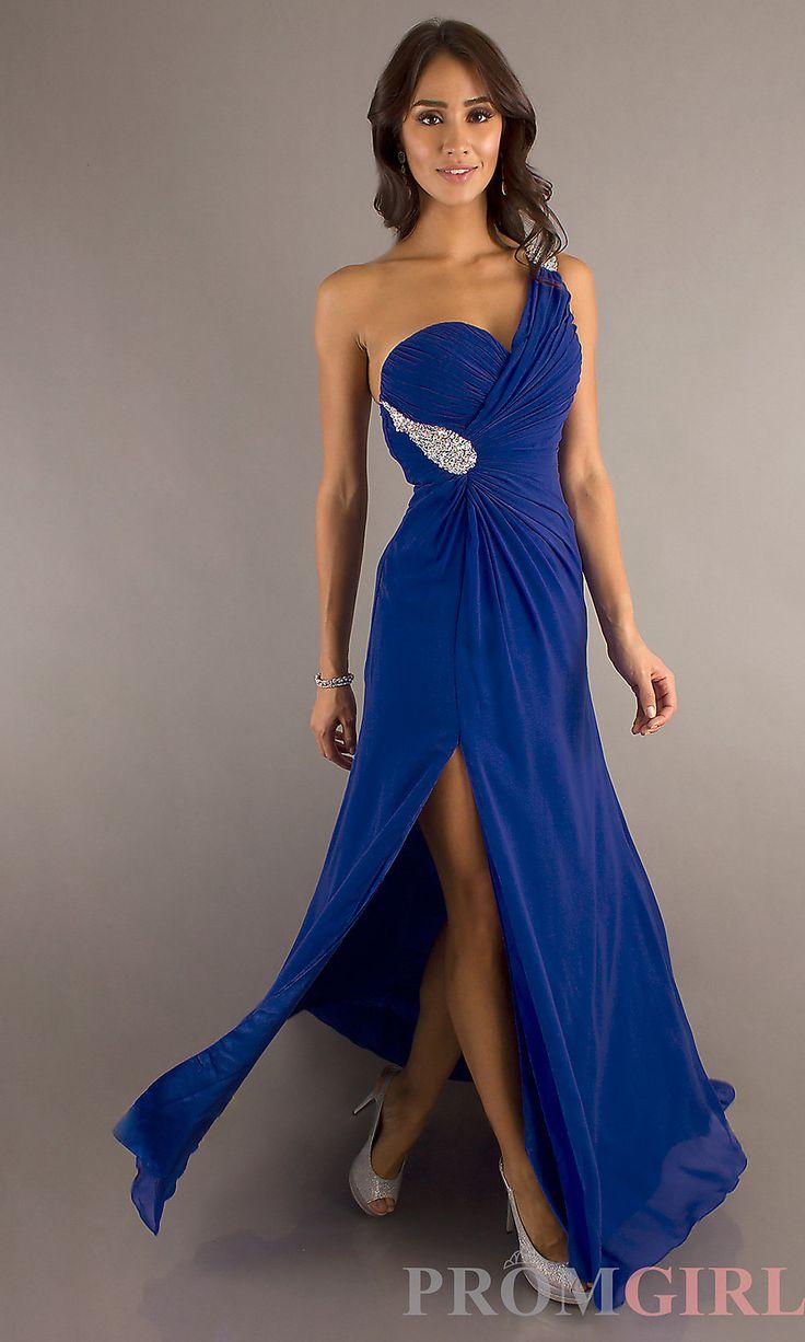 Royal blue chiffon one shoulder bridesmaid dresses with side split - A Line Split Front One Shoulder Royal Blue Prom Dress
