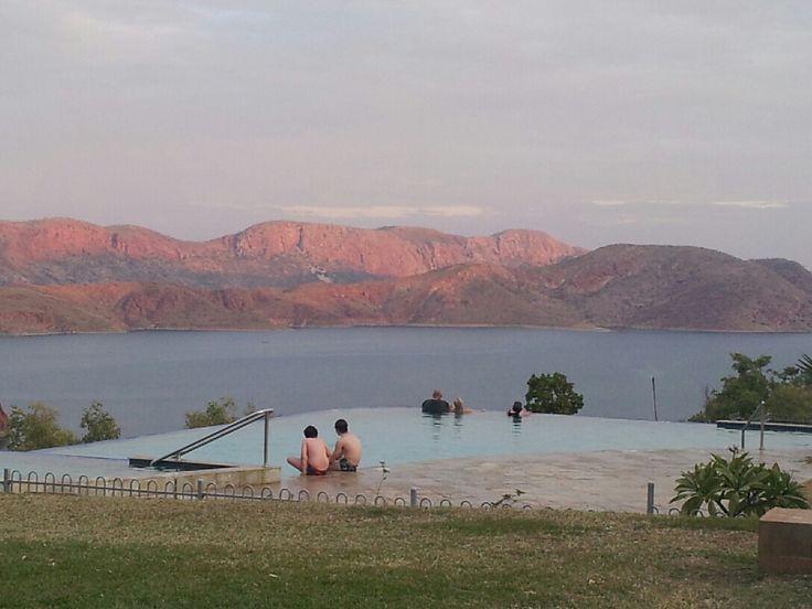 Sunset over Infinity Pool, Lake Argyle. WA