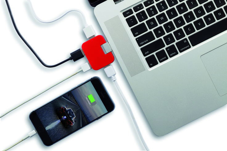Portable USB hub with 4 USB 2.0 ports that extends the amount of USB ports on your laptop or computer.
